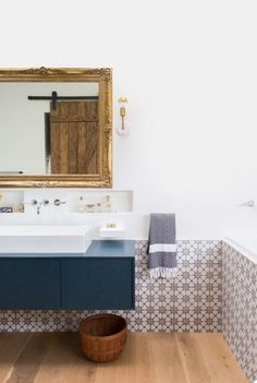 patterned tiled wainscot
