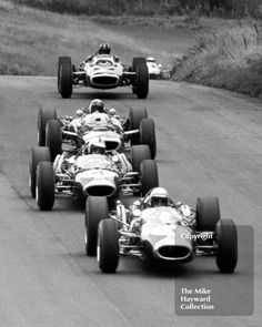 5 world champions - Brabham, Hulme, Stewart, Hill and Clark. 1966 Gold Cup, Oulton Park.