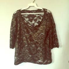 Forever 21 floral black & gold sheer blouse  Perfect for any time of year any occasion! Forever 21 floral lace (black with a gold sheen) sheer blouse. Sport with a bandeau underneath or a lace Bralette! Will not dissapoint! Forever 21 Tops Blouses