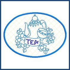 tea time placemat in the hoop machine embroidery - Bakers Gonna Bake Kitchen Redwork Embroidery Designs