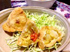 Samosa ^_^ - 10件のもぐもぐ - 余ったポテトサラダでサモサ by machimachicco