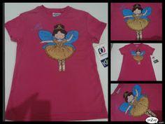 camiseta pintada a mano hada bailarina de ballet