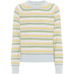 Ganni Mercer Wool and Yak-Blend Sweater (512.965 COP) ❤ liked on Polyvore featuring tops, sweaters, striped, multicoloured, colorful sweaters, colorful striped sweater, multi colored striped sweater, multi color tops and striped wool sweater