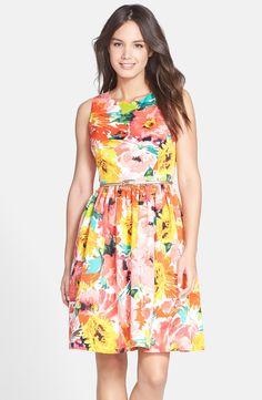 Eliza J Belted Print Faille Fit & Flare Dress (Regular & Petite)