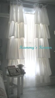 Kammy's Korner: White shabby chic ruffle curtains