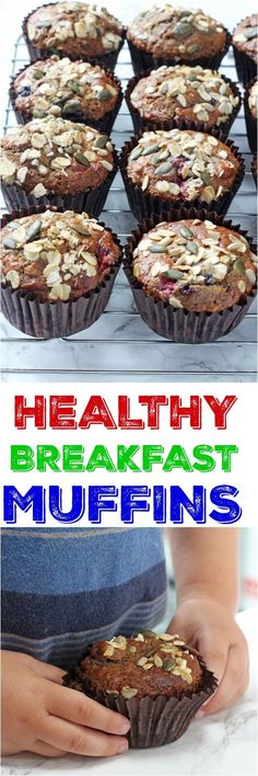 Delicious and filling Berry Breakfast Muffins packed full of healthy ingredients including oats, yogurt, coconut oil, banana and apple sauce | My Fussy Eater