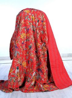 Indian Queen Size Handmade Bird of Paradise Kantha by lavinas