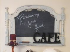 I have an older dresser top mirror in the garage - we could DIY a new chalkboard for your kitchen...