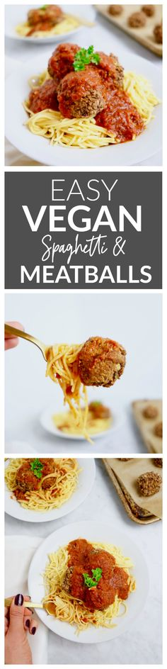 "This plant-based recipe features ""meatballs"" made from red beans and oats. It's completely vegan and gluten-free and full of Italian flavor. It takes a mere 30 minutes to whip up making this a great weeknight dinner option! Vegan Spaghetti, Vegan Pasta, Vegan Meatballs, Spaghetti And Meatballs, Vegan Recipes Easy, Whole Food Recipes, Vegan Recepies, Drink Recipes, Pasta Recipes"