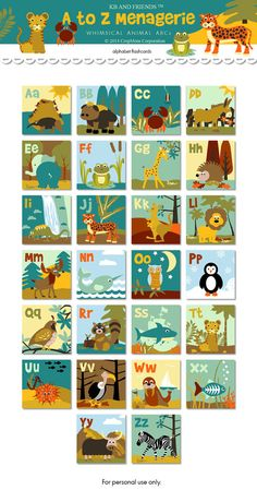 Digital animal ABC 2 square flashcards / alphabet by KBandFriends.