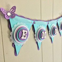 Items similar to Purple Butterfly Baby Shower Banner, Purple and Aqua Baby Shower Banner, Baby Shower Decor Butterflies, Butterfly Baby Room on Etsy Butterfly Baby Room, Butterfly Party, Butterfly Birthday, Purple Butterfly, Baby Banners, Pennant Banners, Paper Flower Backdrop, Paper Flowers, Baby Shower Purple