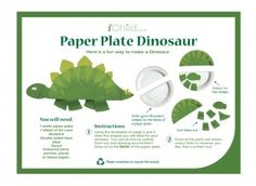 Your child will love this paper plate craft activity of a dinosaur!
