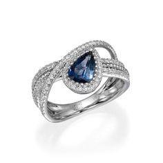 Pear Shape Sapphire with Diamonds in 18K White Gold Ring - Mariloff Diamonds and Fine Jewelry - http://www.mariloff.com
