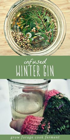 Infused Winter Gin This winter gin is infused with fresh foraged juniper berries, white fir, and lots of winter herbs and spices. It's refreshing and aromatic, and a perfect winter foraging recipe. Gin Recipes, Cocktail Recipes, Homemade Liquor, Triple Sec, Wild Edibles, Cocktails, Tea Blends, Fermented Foods, Perfect Food