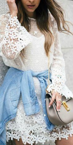 Lace + chambray.