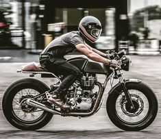 A nicely done Royal Enfield Continental GT built by . Custom Cafe Racer, Cafe Racer Bikes, Cafe Racer Motorcycle, Motorcycle Style, Motorcycle Girls, Retro Motorcycle, Motos Vintage, Vintage Bikes, Vintage Motorcycles