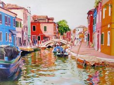 """Saatchi Art is pleased to offer the painting, """"BURANO 1,"""" by Leopoldo G Andrades, available for purchase at $2,210 USD. Original Painting: Oil on Wood. Size is 22.8 H x 30.7 W x 1.2 in. Cadiz Spain, Parallel Lives, Original Paintings, Original Art, Boat Fashion, Wood Detail, Artwork Online, Blue Tones, The Good Place"""