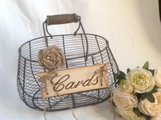 Rustic Wedding Card Basket Shabby Chic Wire By ChiKaPea 5499