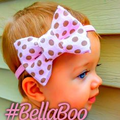 Our lovely Lily is adorable in our pretty pinkey and polka dots boutique bow heasband (managed by her chic mom Lindsey)   Check out more styles at www.Etsy.com/shop/BellaBowsRox