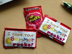 SUPER cheap SUPER easy end of year gifts for your class:   *Pop Rocks from dollar store (3 for $1.00!)   *Avery Stickers #5963  ...