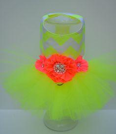 Dog Tutu Harness Dress - Neon Yellow Chevron and Pink Flowers