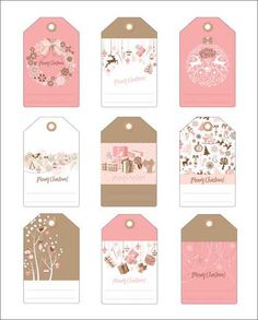 2 Sets of Free Christmas Gift Tags in Pink and Blue Free Printable Christmas Gift Tags, Free Christmas Gifts, Free Printable Gift Tags, Box Noel, Eid Envelopes, Eid Card Designs, Eid Stickers, Gift Labels, Christmas Cards