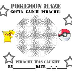 POKEMON COLORING PAGES: PIKACHU AND POKEBALL MAZE - POKEMON ACTIVITY SHEET