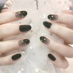 BEPHORA Handmade Black Gradient oval fake nail Bride and Girls Artificial Fake Nails Manicure acrylic artificial nail with glue Gradient Nails, Cute Acrylic Nails, Acrylic Nail Designs, Pink Nails, Cute Nails, Pretty Nails, Gel Manicure Designs, Nails Design, Oval Nail Designs