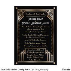 Faux Gold Shaded Gatsby Art Deco Wedding