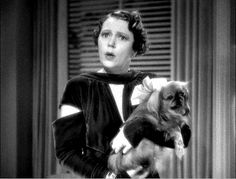 """""""Alice Brady as Angelica Bullock (with Mischa Auer as her protégé, Carlo, below) shows that she's conversant in social arts like Pekingese in stills from director Gregory La Cava's film, My Man Godfrey Vintage Hollywood, Classic Hollywood, Alice Brady, Pekingese Dogs, Social Art, Foo Dog, Cute Animal Pictures, Dog Names, Great Movies"""