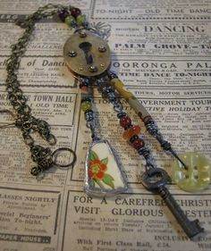 Ro Bruhn - This necklace was made from an old key plate. I also soldered a piece of china.