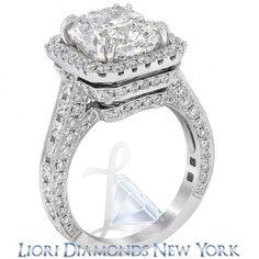 8.51 Carat G-SI3 Cushion Cut Natural Diamond Engagement Ring 18K Vintage Style - Vintage Style Engagement Rings - Engagement - Lioridiamonds.com