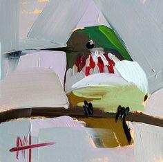 Hummingbird no 70 original bird oil painting Angela Moulton