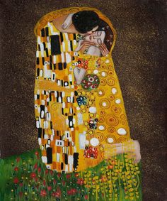 Gustav Klimt Paintings   Gustav Klimt - The Kiss (Fullview) Handmade Oil Painting Reproduction ..