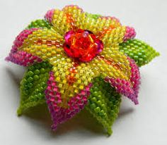 handmade creations - Handmade Multicolor Glass Bead Flower Hair Clip (Fivefootfury Creations) Tags: pink flower glass