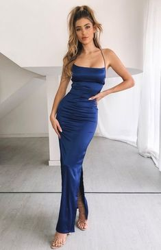 Tight prom dresses - Blue Long Party Dress,Spaghetti Straps Full Length With Prom Dress,Sleeveless Floor Length Evening Dress – Tight prom dresses Tight Prom Dresses, Grad Dresses, Satin Dresses, Evening Dresses, Sexy Dresses, Dress Formal, Formal Wear, Wedding Dresses, Silky Prom Dress