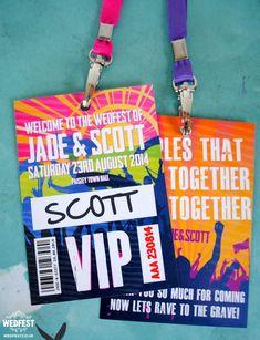Music Festival Wedding Stationery VIP Lanyard Programme - http://www.wedfest.co/music-festival-wedding-stationery/ #wedfest