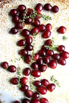 Grapes tossed with Thyme, Salt and Olive Oil