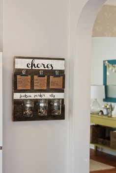 DIY Chore Chart and Organizer...instructions included.... LOVE THIS! MONEY JAR too for encouragement, or place for EVERYONE to empty change into... ID worthy cause, at right time, FAMILY donates to chosen 'make the world a better place' organization with a .org after it!