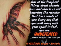 #spirit #monster #undefeated #rsd #crps #rsdawareness #crpsawareness #angels #kimberly #theangelsproject #pain #illness #chronic #fibro #chronicpain #chronicillness #invisibleillness #awareness #awarenessmatters #spoonie #spoonielife #fibro #awarenessposter #youmatter