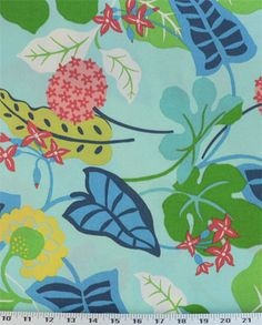Baja Floral Turquoise - Indoor/Outdoor   Online Discount Drapery Fabrics and Upholstery Fabric Superstore!