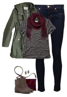 """Oxblood, gray & army green"" by steffiestaffie ❤ liked on Polyvore featuring J Brand, Cheap Monday, Abercrombie & Fitch, Ulla Johnson, Sole Society, Kendra Scott, women's clothing, women's fashion, women and female"