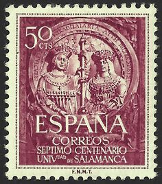 España Scott # 795 (12 Oct 1953) Con motivo del 700 aniversario de la fundación de la Universidad de Salamanca (España). 50 centavos sello que muestra el medallón de los Reyes Catóticos (Fernando e Isabel) en la entrada principal (portada plateresca) de la Universidad de Salamanca.