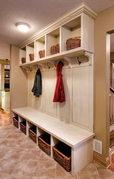 "Mudroom ideas. Only have 12-16"" to build lockers. Maybe a piece on the end"