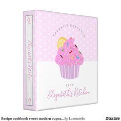 Recipe cookbook sweet modern cupcake hearts, pink 3 ring binder