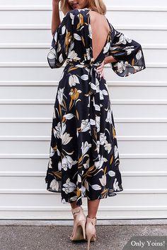 Мода случайный цветочный принт V-образным вырезом с открытой спиной Макси платье