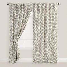 One of my favorite discoveries at WorldMarket.com: Blue and Green Shadow Flower Curtains, Set of 2
