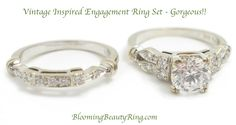 #VintageInspired #EngagementRingSet  http://www.BloomingBeautyRing.com