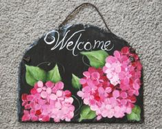 Hand Painted Slate Welcome Sign Christmas di ABeautifulGift