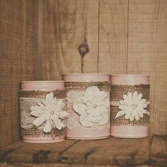 Painted tin can lace and and burlap centerpiece vases. Decoration tin cans. Pink wedding, Tin can vase. by saundra Tin Can Crafts, Jar Crafts, Diy And Crafts, Arts And Crafts, Bottles And Jars, Mason Jars, Burlap Centerpieces, Centrepiece Ideas, Painted Tin Cans